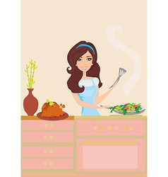 Beautiful woman frying in kitchen vector