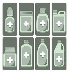 Set of cute medicine bottle vector