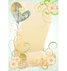 Vintage scroll with butterfly and flourishes vector