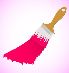Pink colour paint brush on pink smooth background vector