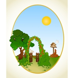 Tree and flower background with fence vector