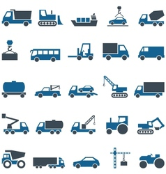 Icons of construction and trucking industry vector