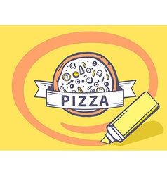 Marker drawing circle around pizza on yel vector