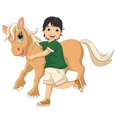 Of a little boy hugging pony vector
