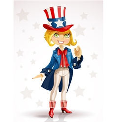 Blond girl celebrates july 4th vector