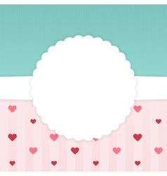 Blue and pink stripped card template with hearts vector