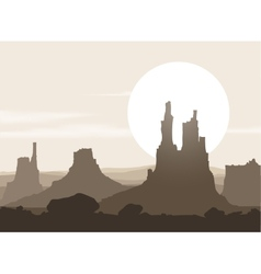 Lifeless landscape with mountains over sunset vector