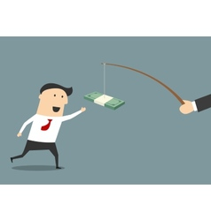 Businessman running after a bribe vector