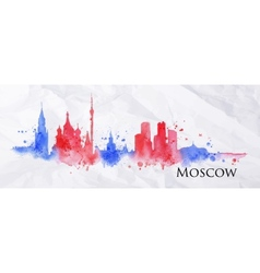 Silhouette watercolor moscow vector