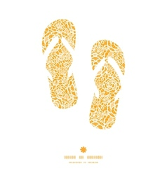 Golden lace roses flip flops silhouettes pattern vector