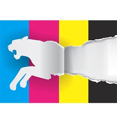 Tiger ripping paper with print colors vector