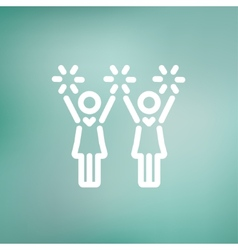 Cheerleaders thin line icon vector