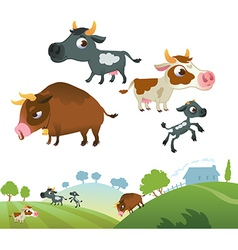 Collection of cow family vector