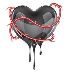 Bleeding black heart vector
