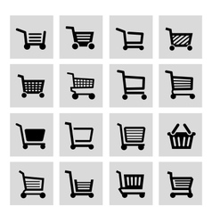 Black shopping cart icon set vector