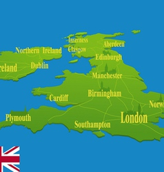 Original england map with a national flag vector