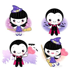 Dracula and little witch character vector