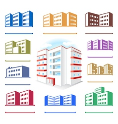 Multistoried building site icons logo set vector