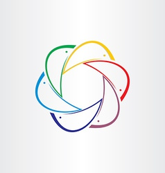 Color dolphins in circle design element vector