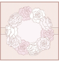 Card with rose frame in retro style vector