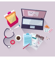 Medical workplace flat design vector