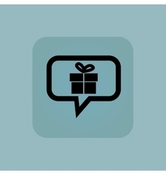 Pale blue gift message icon vector