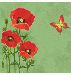 Floral vintage background with poppies vector