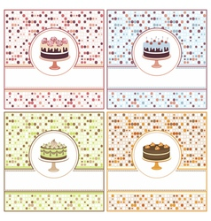 Set of cake cards vector