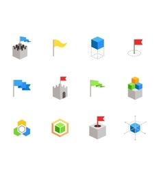 Castles and cubes flat symbols for branding vector