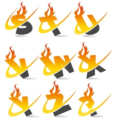 Swoosh flame alphabet logo set 3 vector