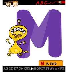 Letter m with monster cartoon vector