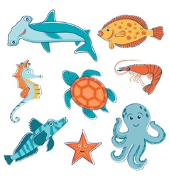 Sea creatures collection vector