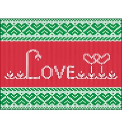 Knitting love card vector