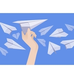 White paper airplane in the female hand and other vector