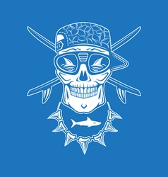 Surfing skull vector