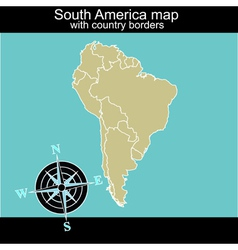 South america map with contry borders vector