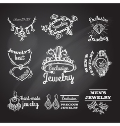 Jewelry chalkboard emblems vector