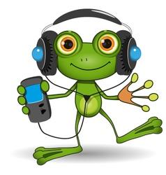 Frog in headphones vector
