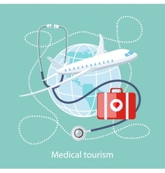 Medical tourism icon of traveling and treatment vector