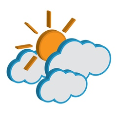 Cloud with sunny weather forecast icon eps10 vector