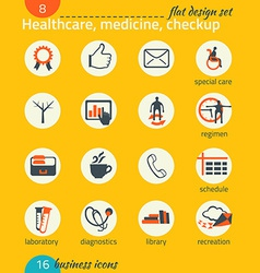 Business icon set healthcare medicine diagnostics vector