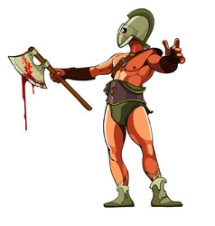 Gladiator with a bloody ax vector