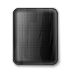 Empty black food tray vector