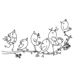 Singing birds on tree vector