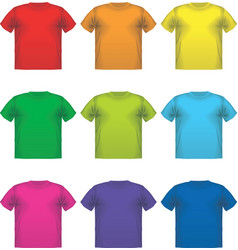 Set of colorful male t-shirts wear printing vector