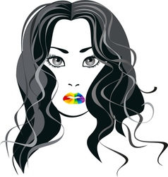 Image a girl with lips the color of the rainbow vector