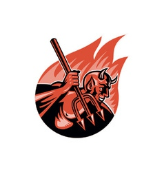 Devil demon with trident pitchfork vector