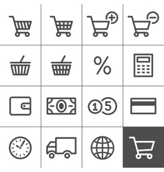 Shopping icons set - simplines series vector