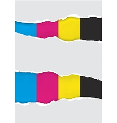 Ripped paper with print colors vector