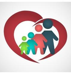 Family inside the heart vector